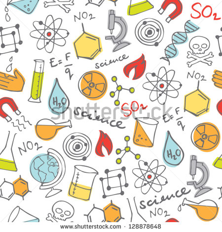 Science Doodles Seamless Background   Stock Vector