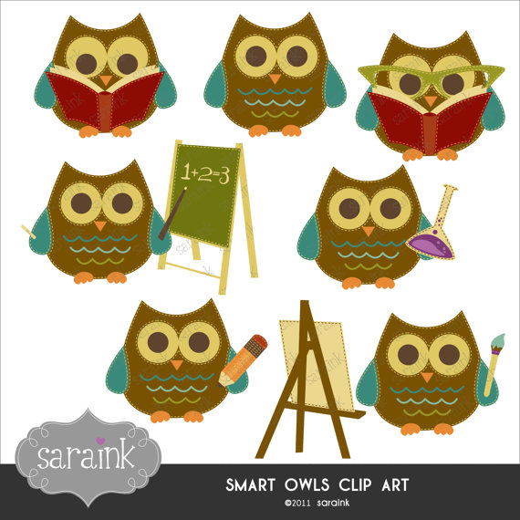 Smart Owls Scholarly Clipart Download   Cute Digital Clip Art For