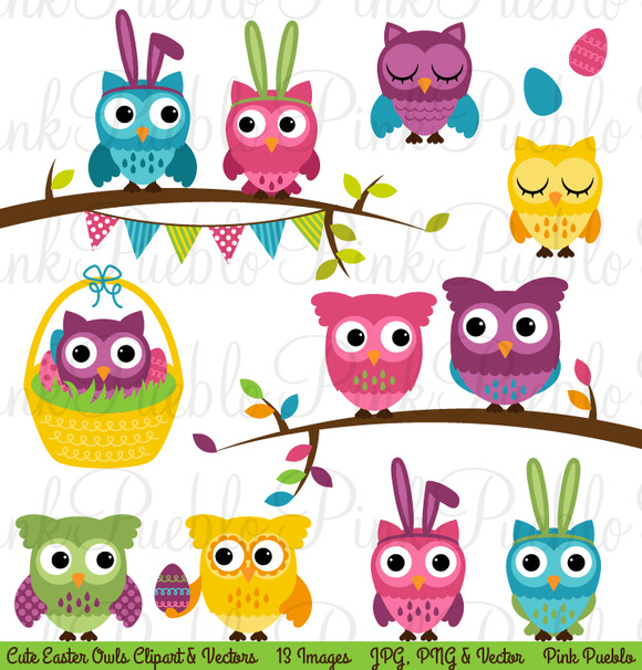 Spring Easter Owl Clipart   Vectors   Illustrations On Creative Market