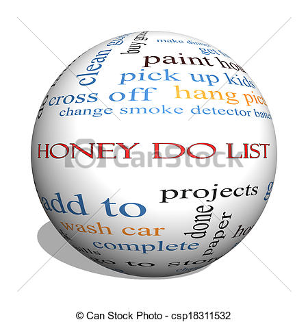 Stock Photo   Honey Do List 3d Sphere Word Cloud Concept   Stock Image