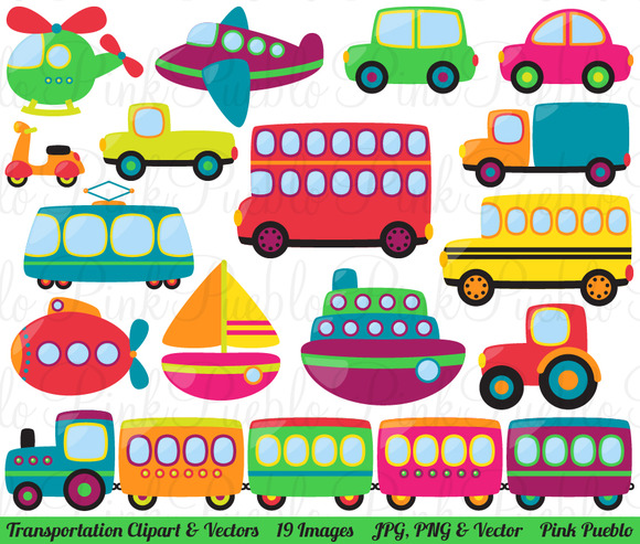Transportation Clipart And Vectors   Illustrations On Creative Market