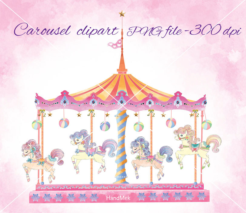 Carousel Set Clipart Cute Carousel Horse Ride Clip Art By Handmek