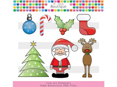 Christmas Clipart Santa Reindeer Tree  No  064    Meylah