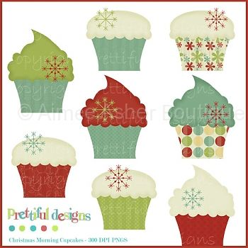 Christmas Morning Cupcakes Cu    Clipart And Graphics    Aimee Asher