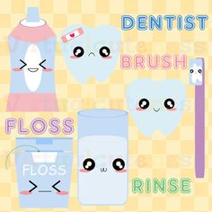 Clipart Dental Toothbrush Teeth Cavity Digital Stickers Dental Clipart