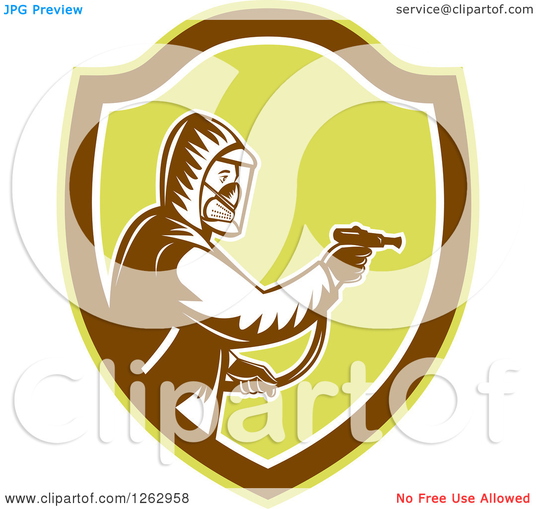 Clipart Of A Retro Woodcut Pest Control Exterminator Spraying In A