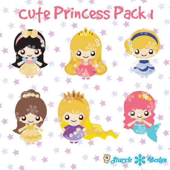 Cute Chibi Princess Clipart  Fairytale Clipart Cute Princess Pack 1