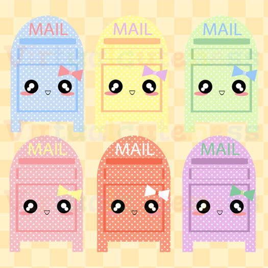 Kawaii Mail Box Clipart   Pastel Polka Dot Clip Art Cute Planner