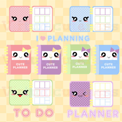 Kawaii Planner Clipart   Cute Planner Time Printable Stickers To Do