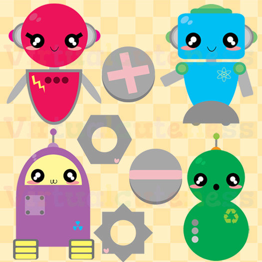 Kawaii Robot Clip Art   Cute Clipart Chibi Robots Cartoon Digital
