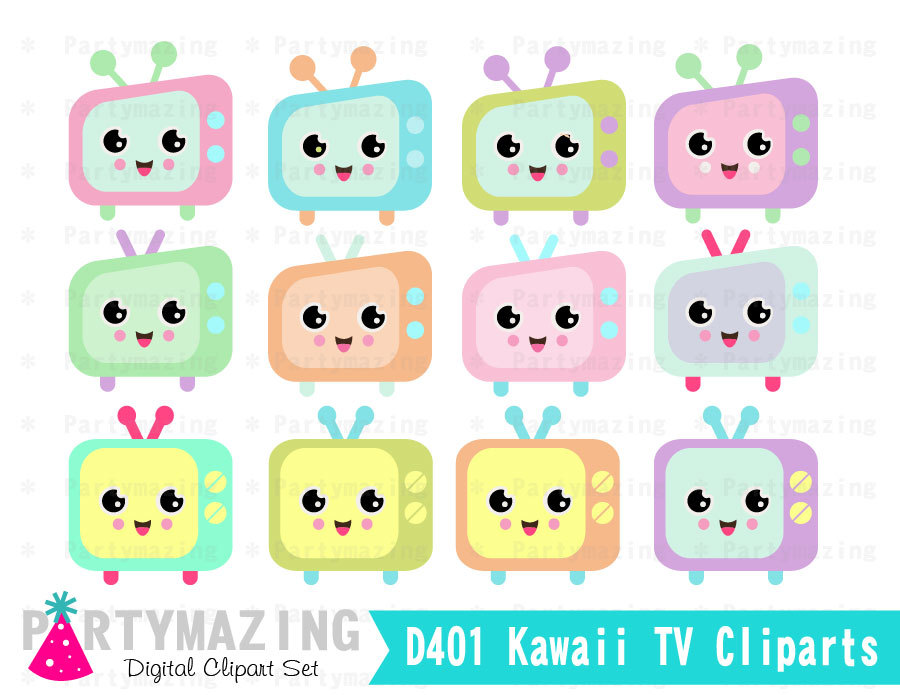Kawaii Tv Clipart Set Kawaii Clipart Chibi Digital By Partymazing