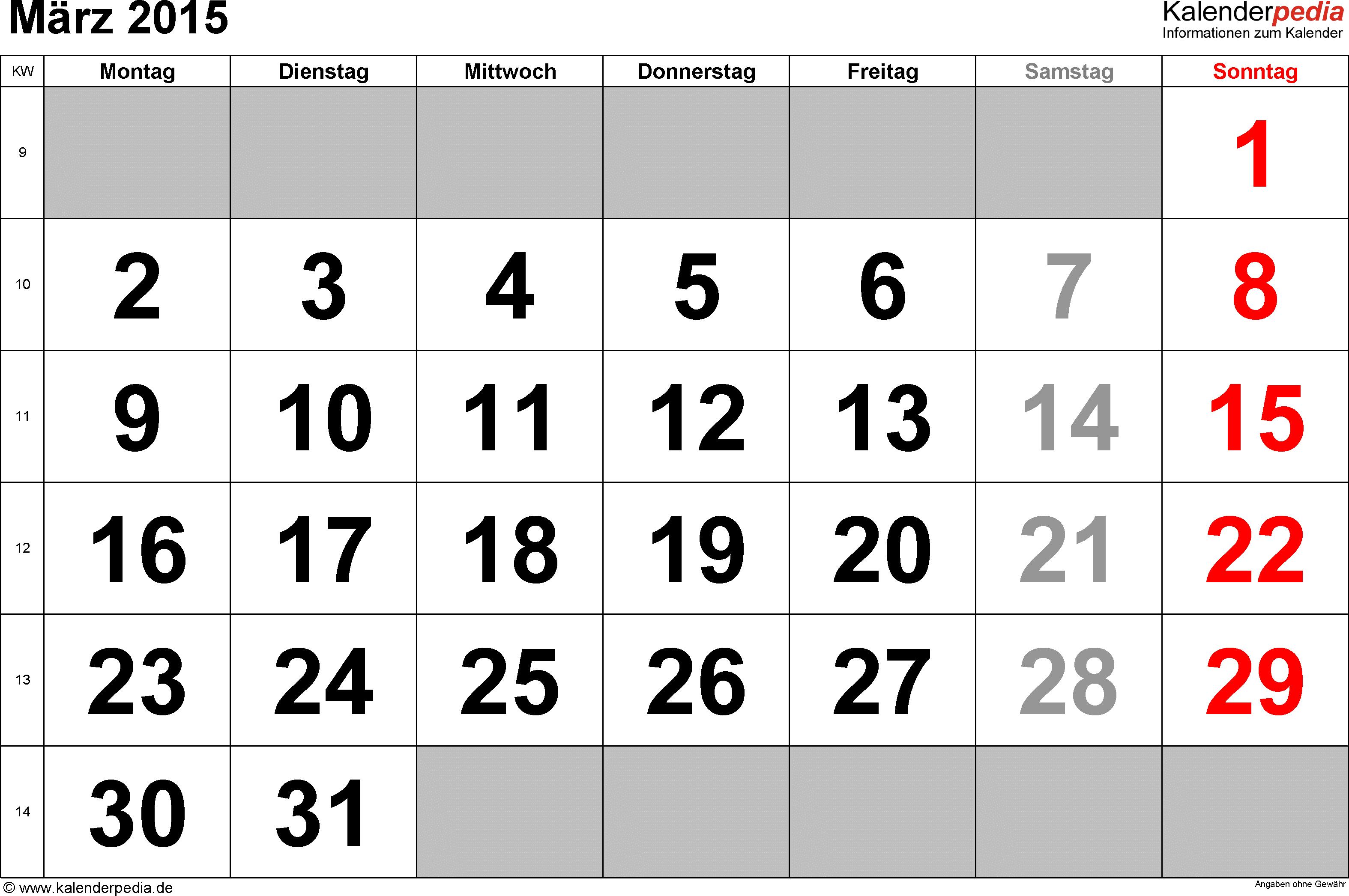 Mit Bundesweiten Feiertagen Kalenderwochen M Rz 2015