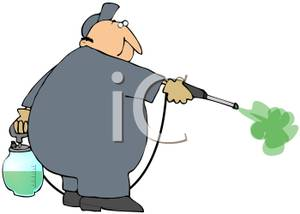 Of An Exterminator Spraying Pesticide   Royalty Free Clipart Picture