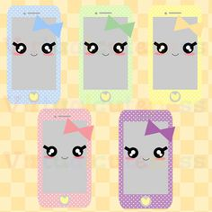 Phone Clipart Telephone Kawaii Clip Art Printable Stickers Chibi