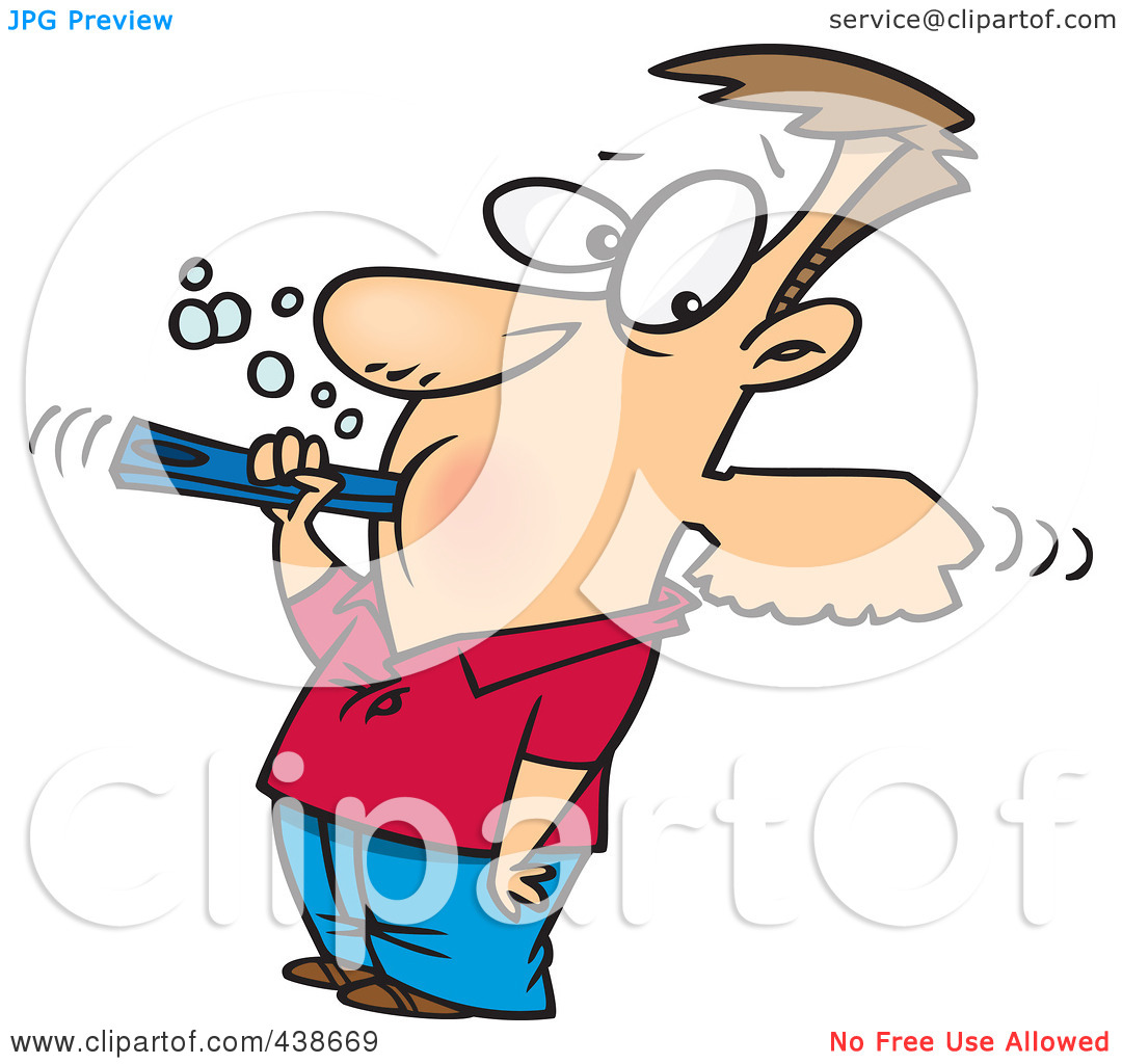 Rf  Clip Art Illustration Of A Cartoon Man Over Aggressively Brushing