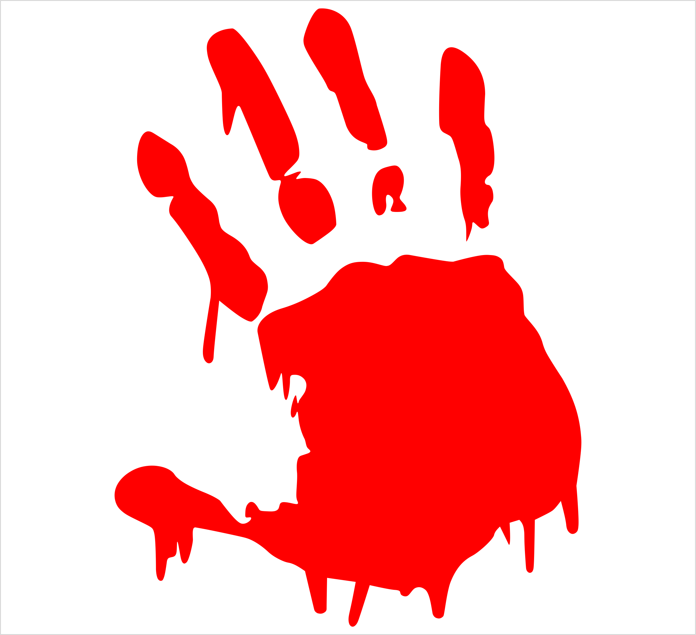 how to draw a bloody handprint