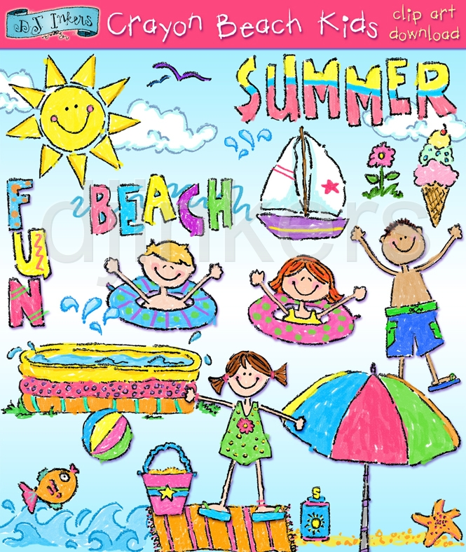 Crayon Beach Kids Clipart Download