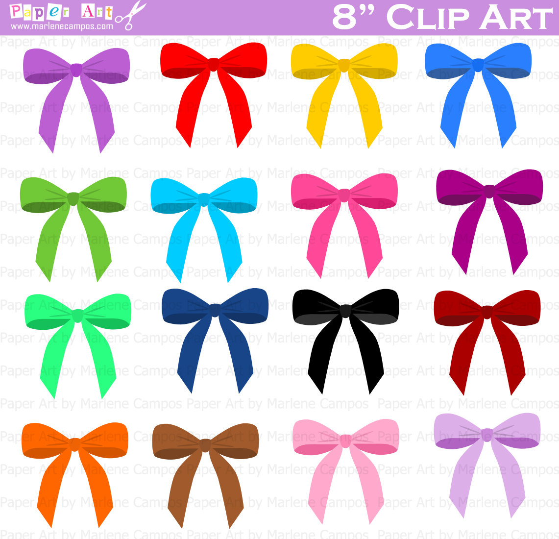 Download   Colored Bows Clip Art Digital Clipart Birthday Party Clip
