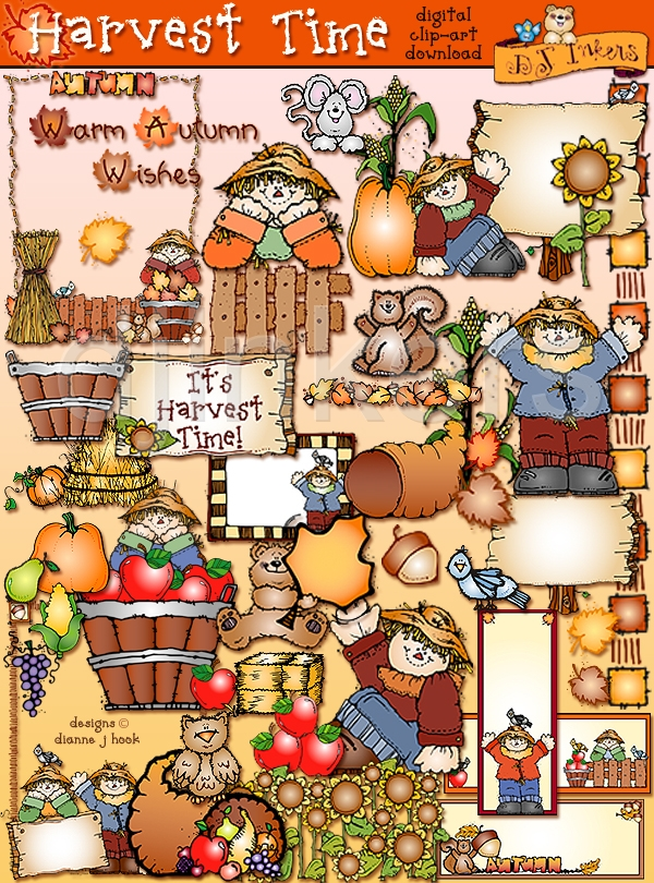 Harvest Time Clipart For Fall By Dj Inkers