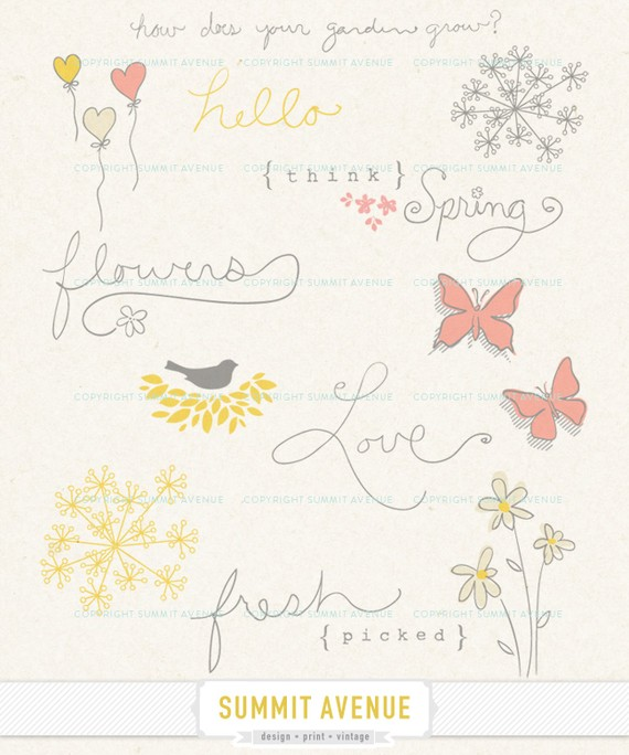 Instant Download Think Spring   Digital Clip Art And Word Art   For