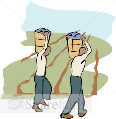 Two Field Workers Clipart   Harvest Day Clipart
