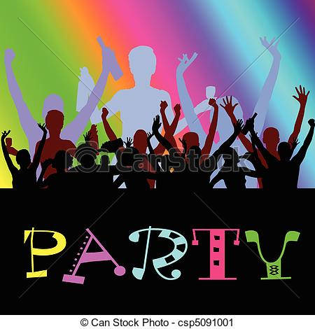 Vector Clip Art Of Party People Dancing Vector Illustration Csp5091001