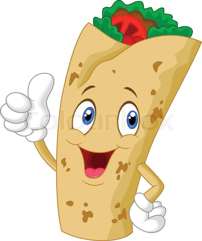 Burrito Cartoon Figur Giving Thumbs Up   Stock Vektor   Colourbox