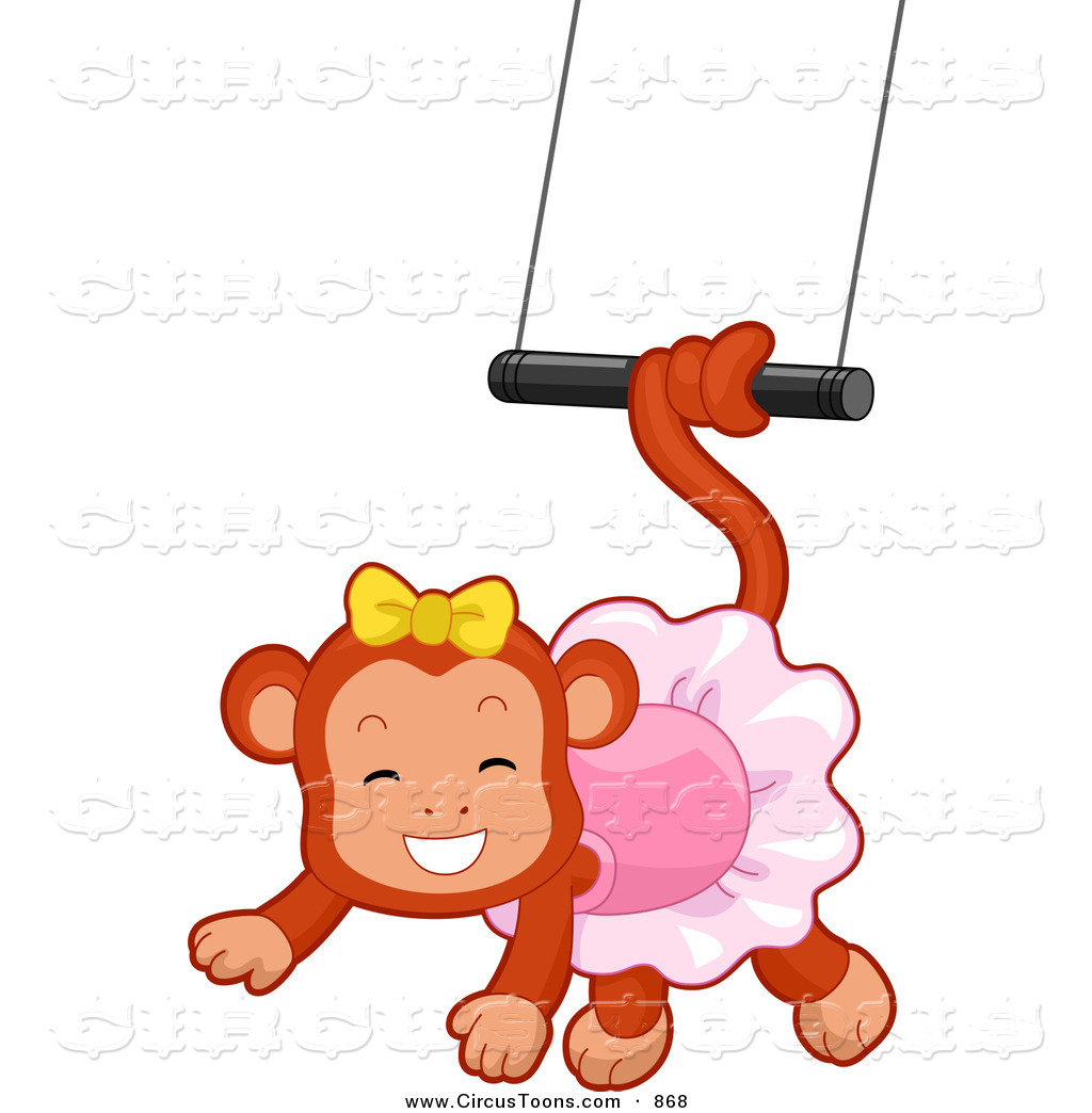 Circus Clipart Of A Cute Female Monkey Swinging From A Trapeze By Bnp
