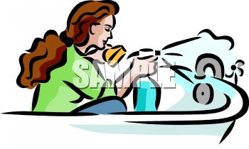 Clean The Bathroom Clipart Woman Cleaning Her Bathtub