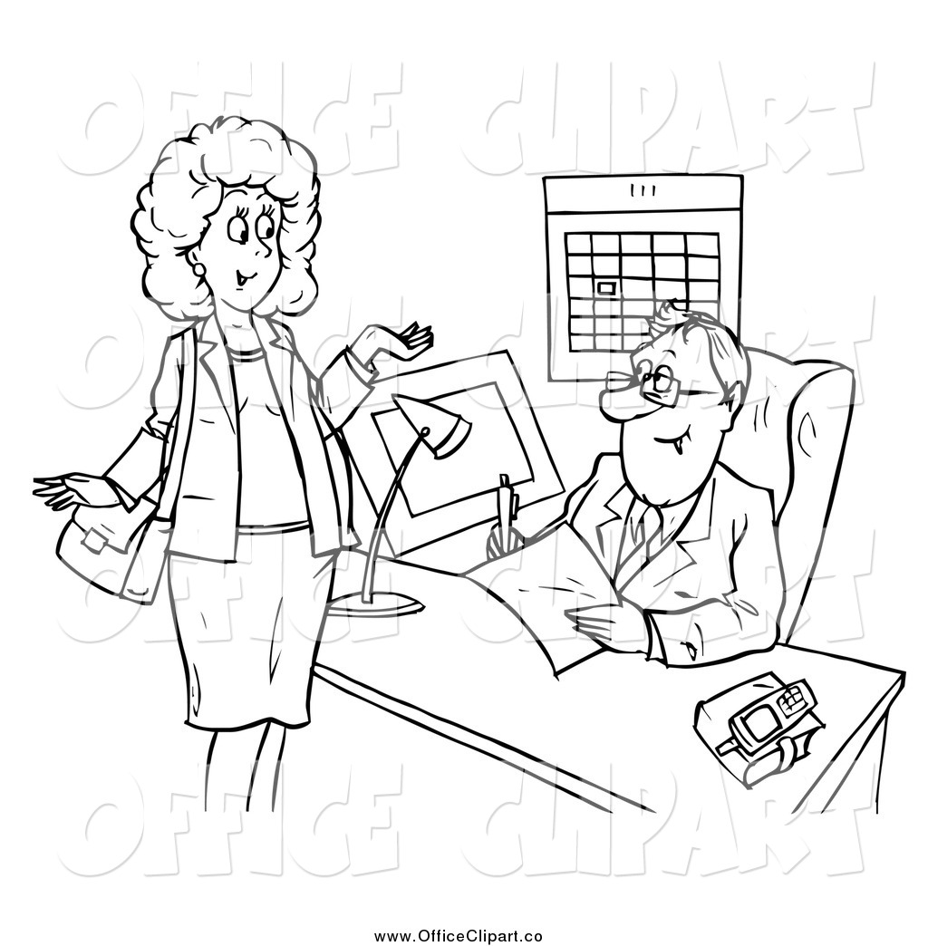 Clip Art Of A Black And White Woman Chatting With A Businsesman