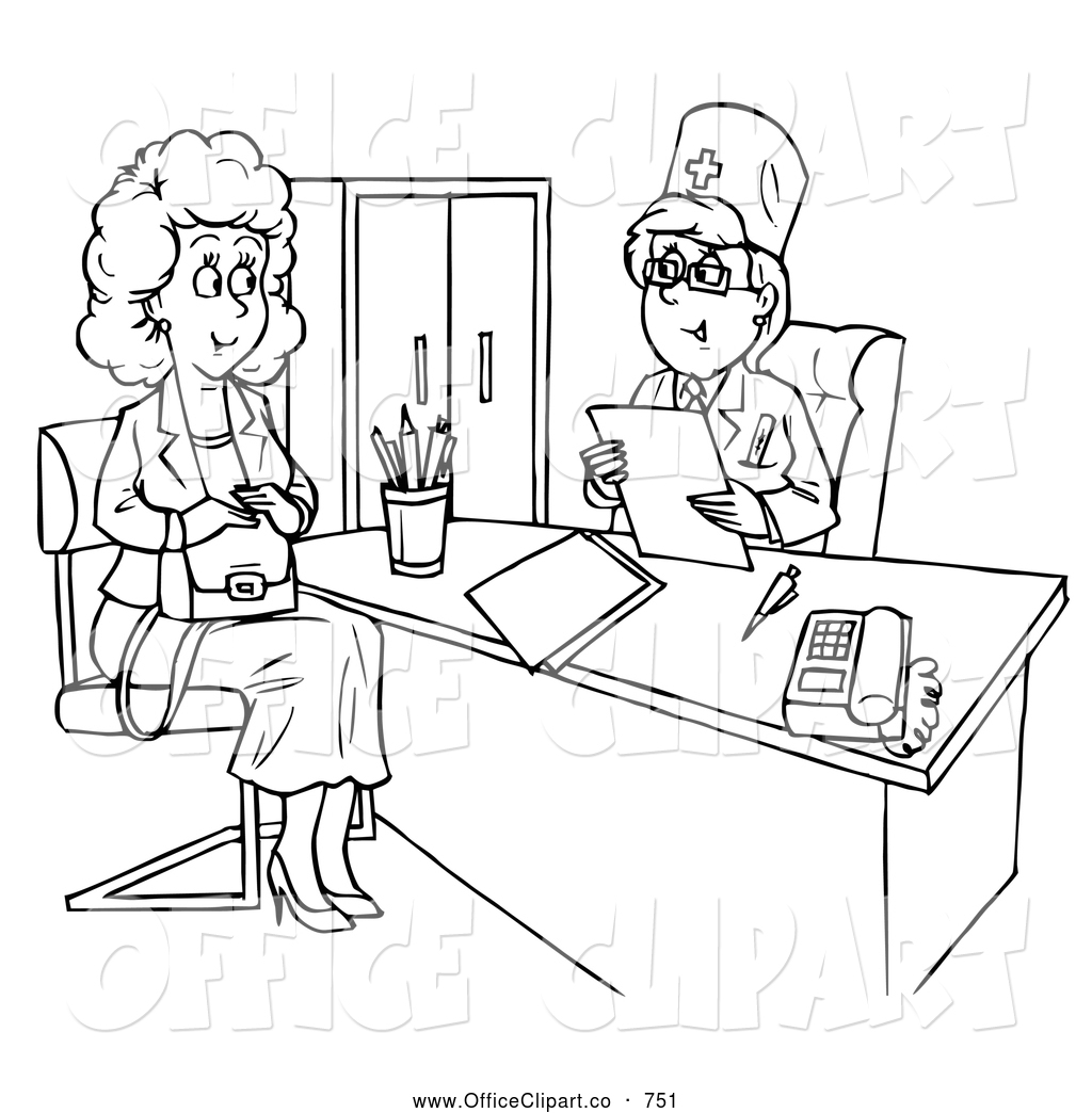 Clip Art Of A Black And White Woman Talking To A Doctor In An Office