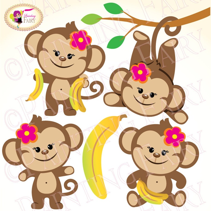 Clipart Cute Girl Monkeys With Bananas Zoo Safari Clip Art Sweet