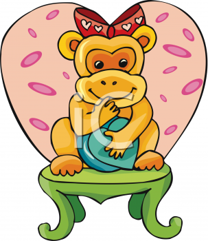 Clipart Net Clipart Picture Of An Adorable Girl Monkey With A Bow On