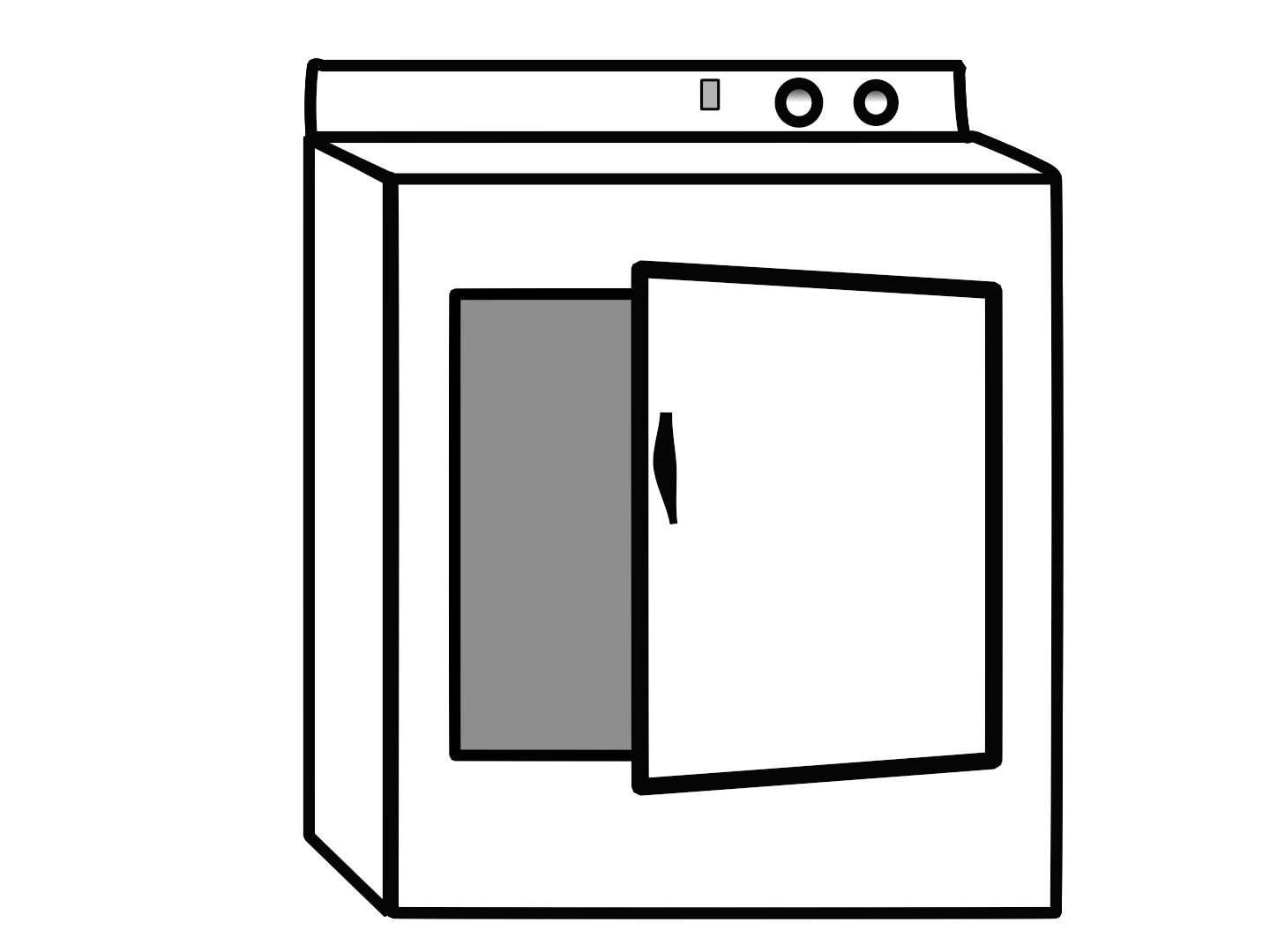 Clothes Dryer Clipart Dryer Door Is One Quarter Open