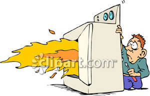 Clothes Dryer With Flames Coming Out   Royalty Free Clipart Picture