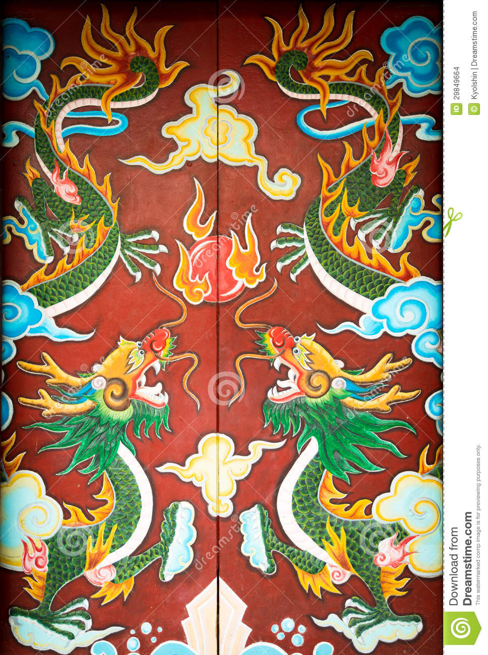 Colorful Door With Symmetrical Dragon Painting  Stock Images   Image