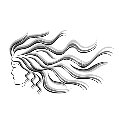 Flowing Hair Silhouette Female Silhouette Head With Flowing Hair