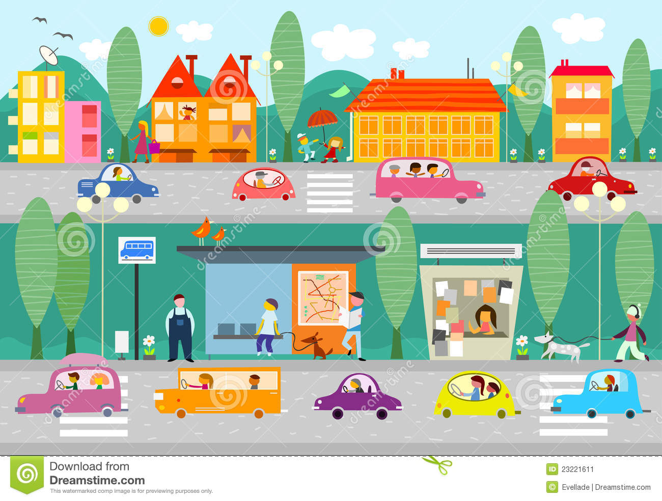 Illustration Of A Day Scene In A City With Bus Stop Cars People And