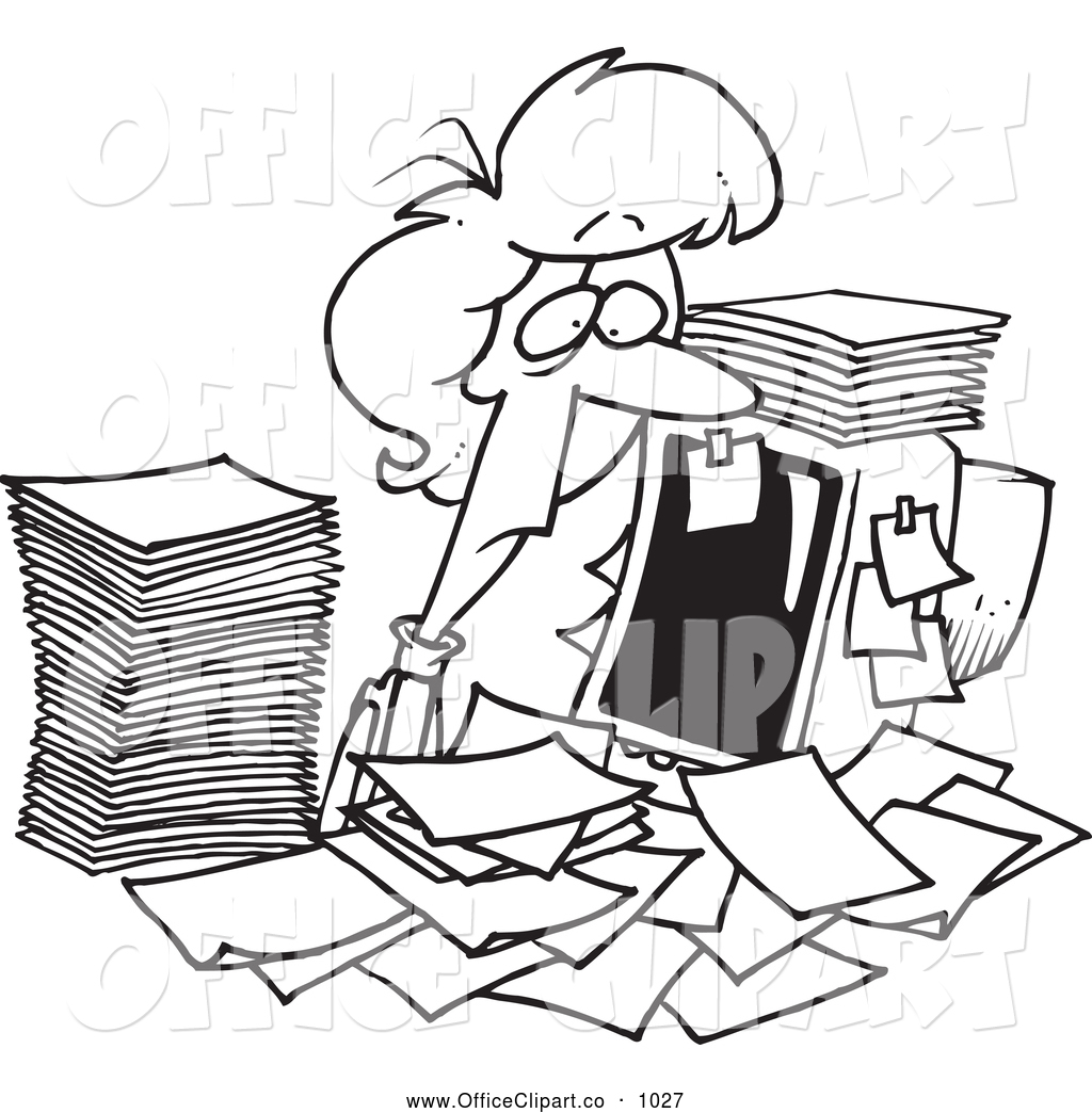 Vector Clip Art Of A Black And White Tired Businesswoman Surrounded By
