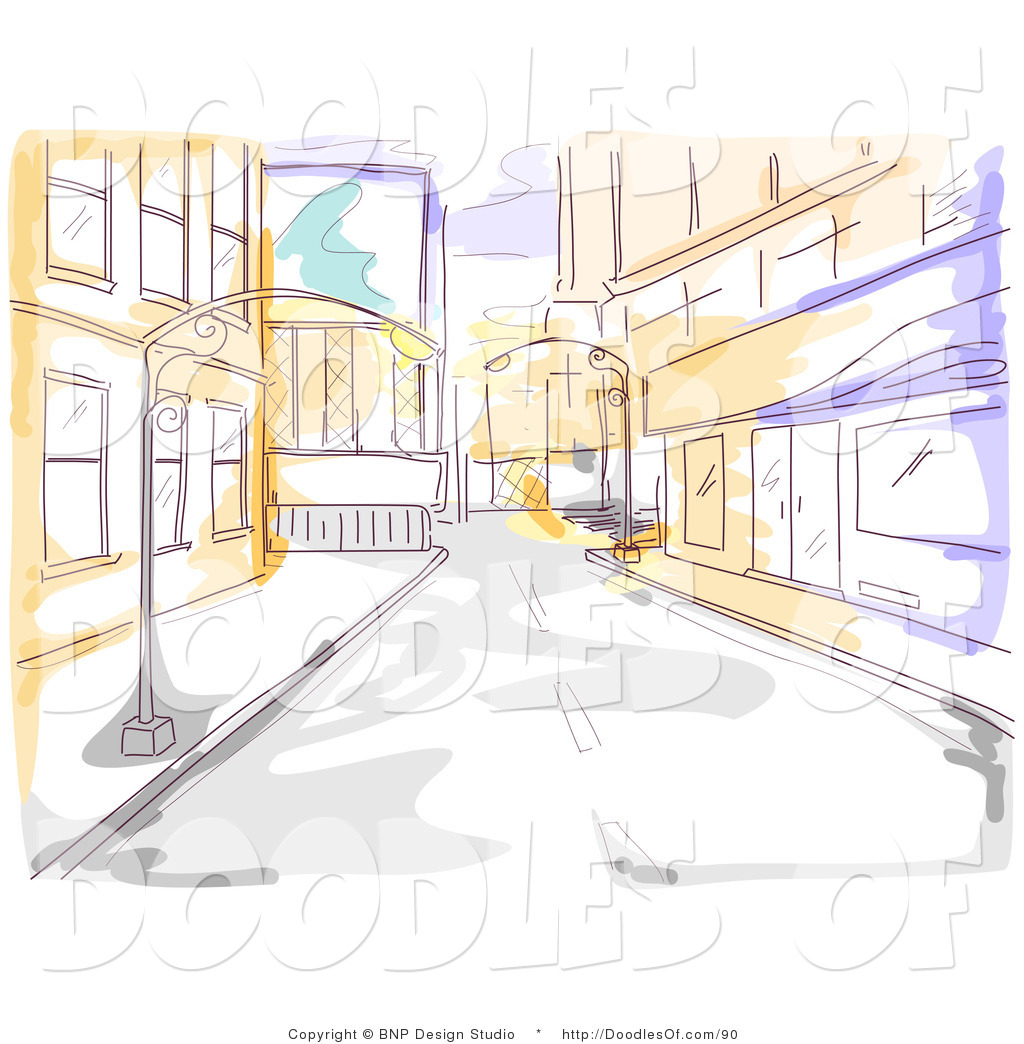 Vector Clipart Of A Yellow And Purple Watercolor And Sketched City