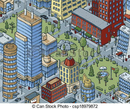 Vectors Illustration Of Downtown City Scene   Scene Of A Cartoon Park