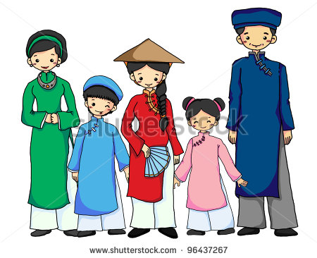Vietnamese Family In Vietnamese Traditional Costume   Stock Photo