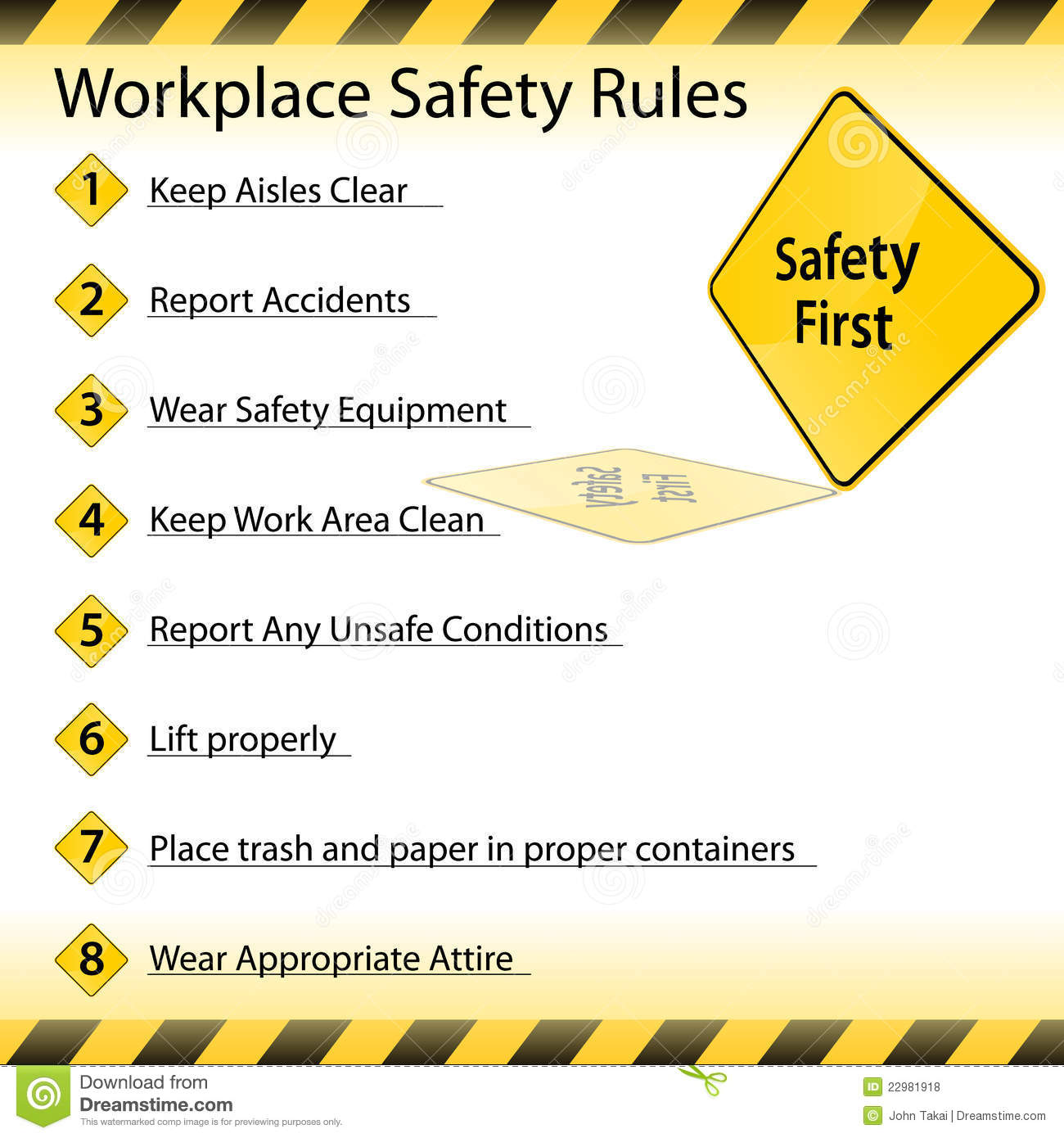 occupational safety rules The federal occupational safety and health act, also called osha, requires employers to provide a safe working environment for employees many states also have their own workplace safety law in order to comply with osha, employers must learn their obligations -- and find out whether they must.