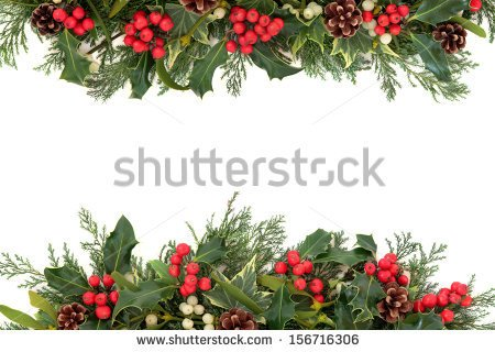 Christmas Floral Border With Holly Ivy Mistletoe Pine Cones And