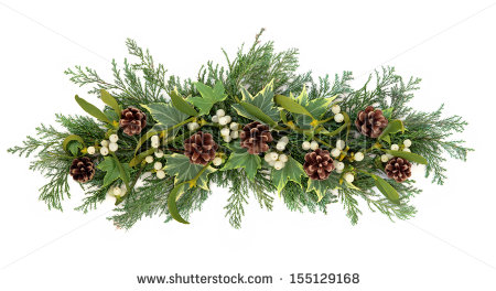 Christmas Floral Decoration With Mistletoe Ivy Pine Cones And Winter