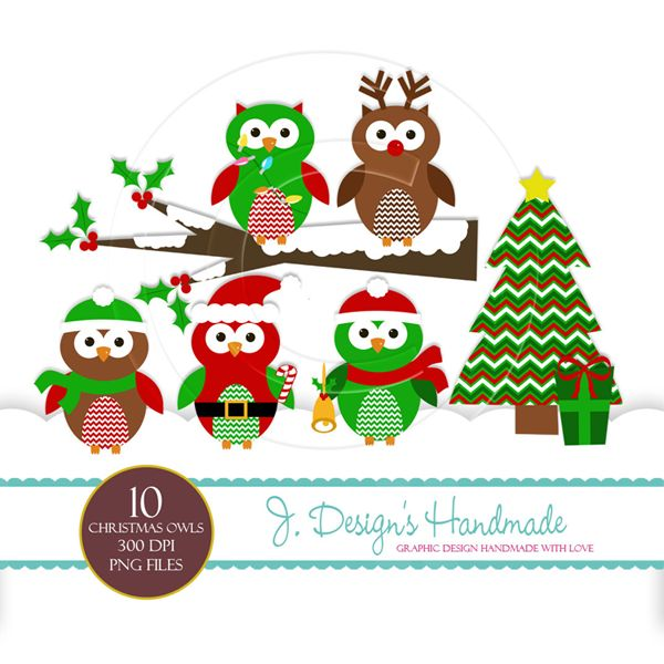 Christmas Owls Clipart   Holidays   Pinterest