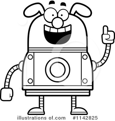 Clip Art Black And White Outlined Smart Dog Robot Cory Thoman