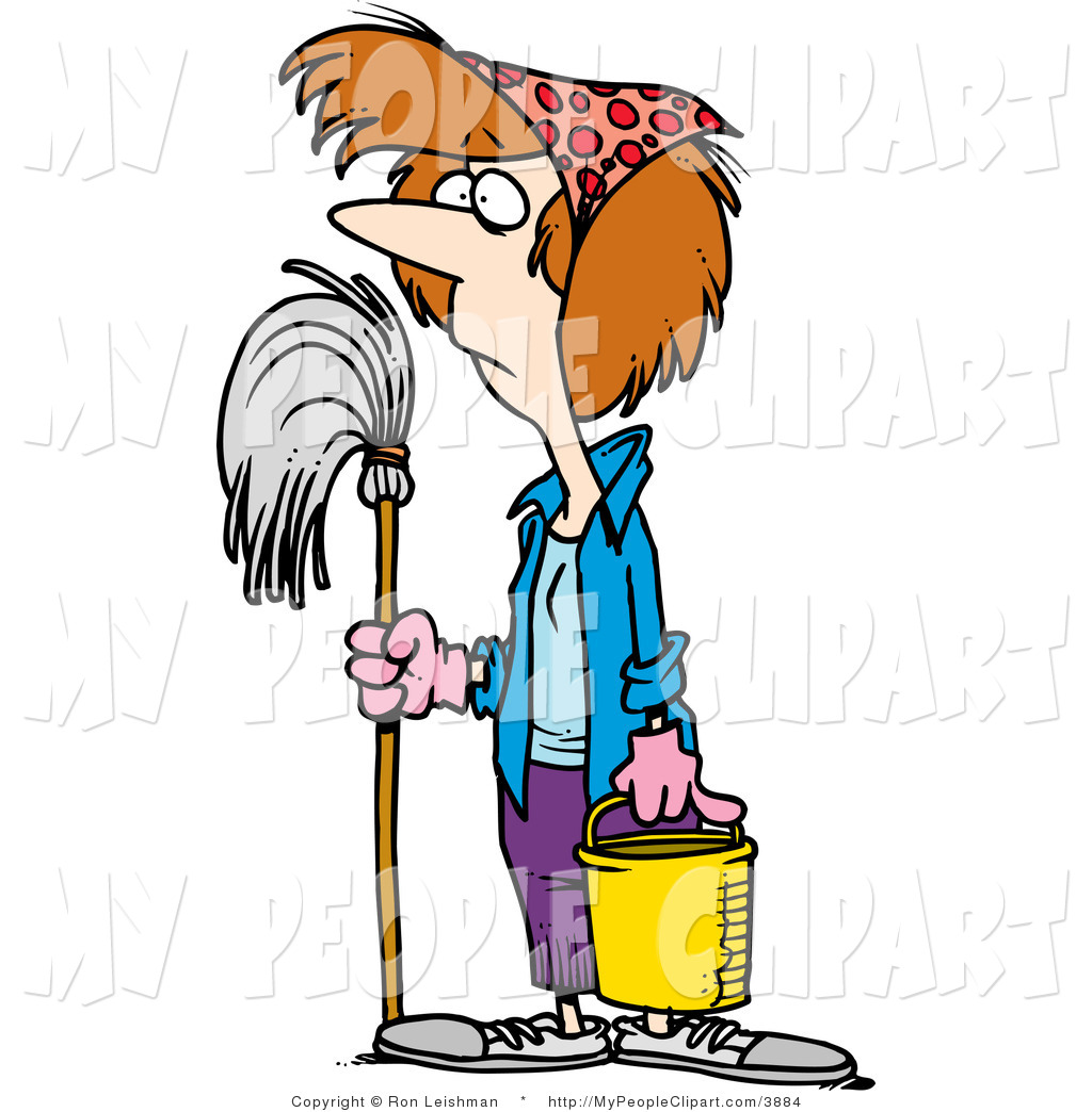 Clip Art Of A Woman Doing Spring Cleaning By Ron Leishman    3884