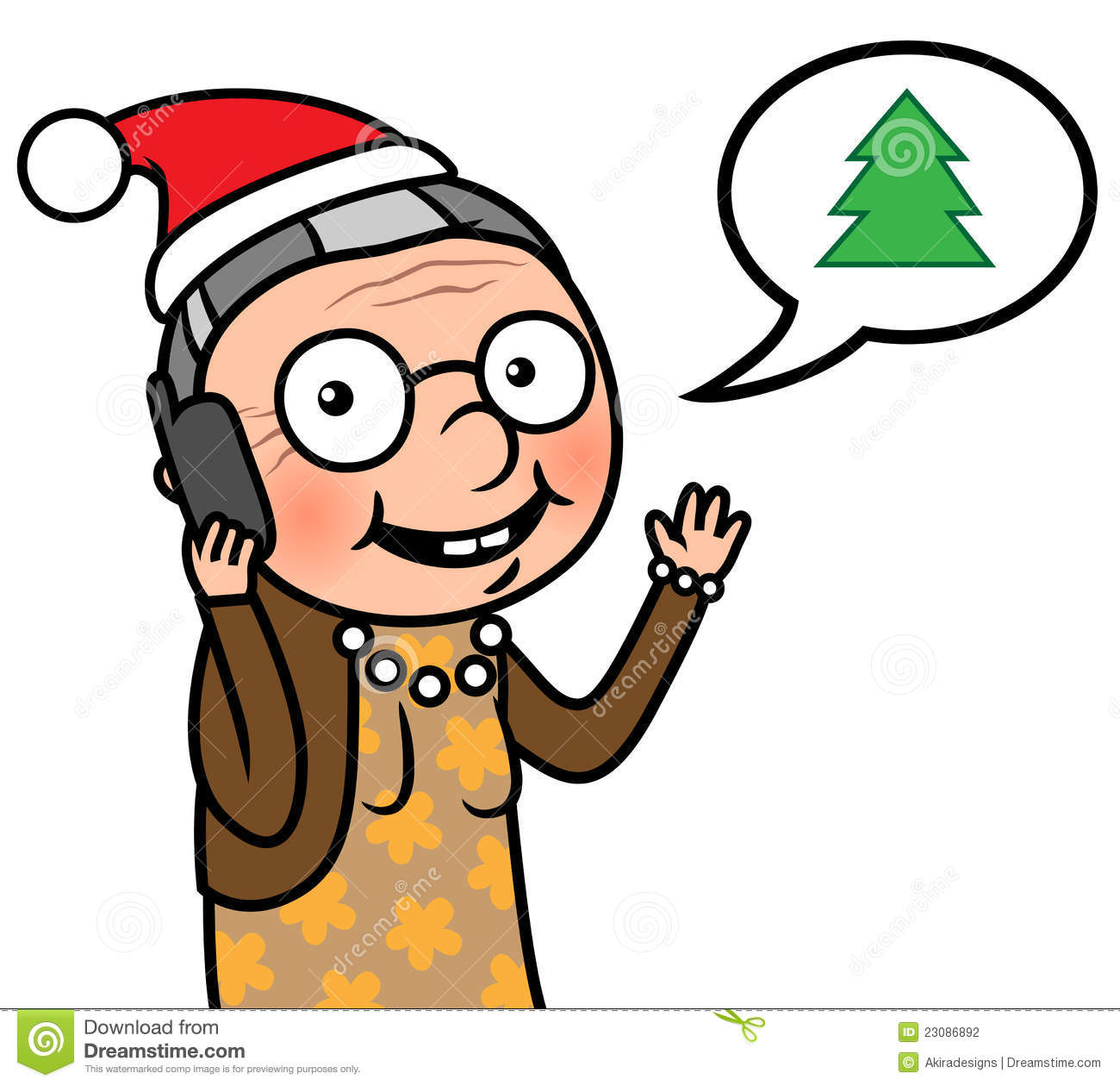 Happy Elderly People Clipart Happy Old Woman With Santa Hat