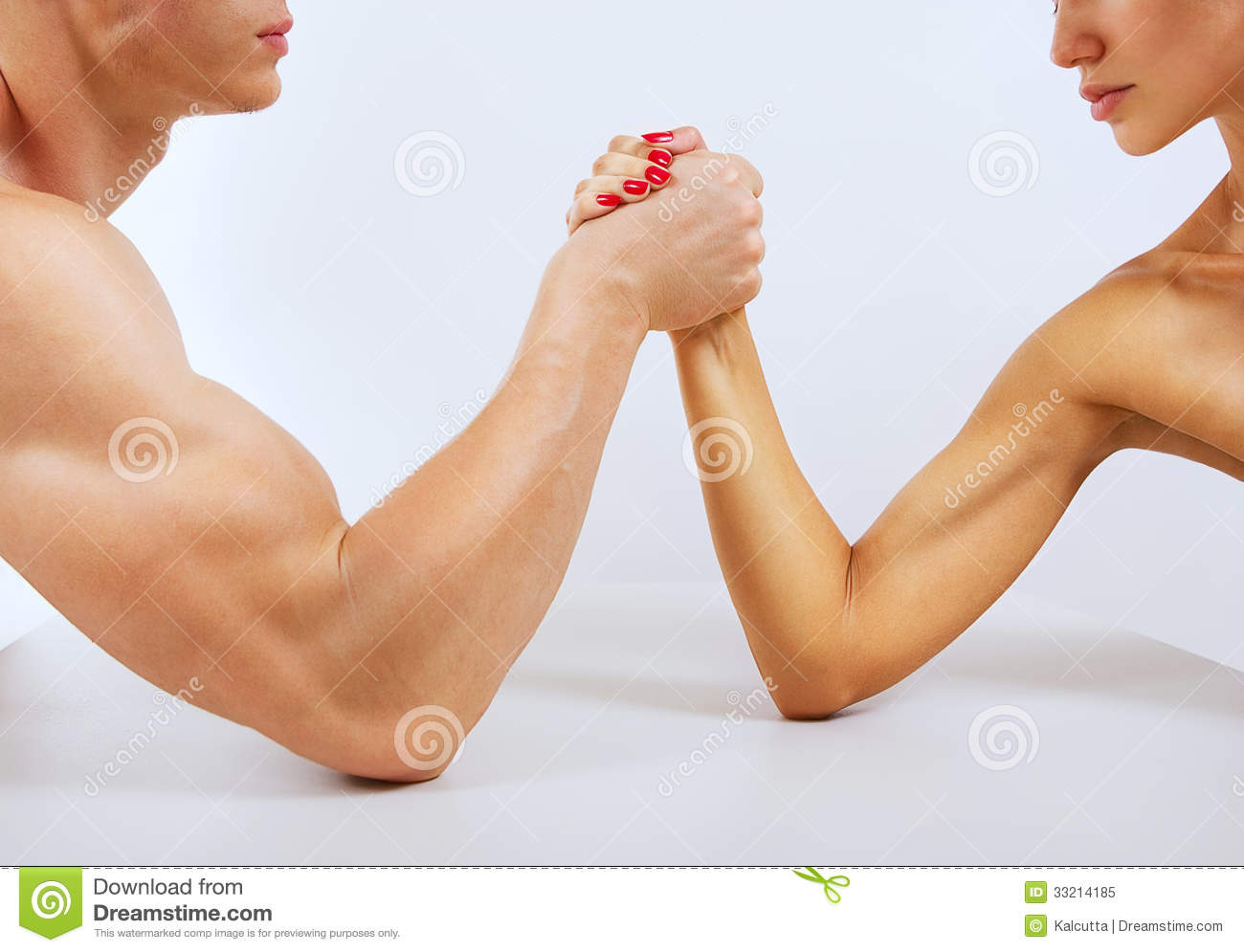 Photo  A Man And Woman With Hands Clasped Arm Wrestling Isolated